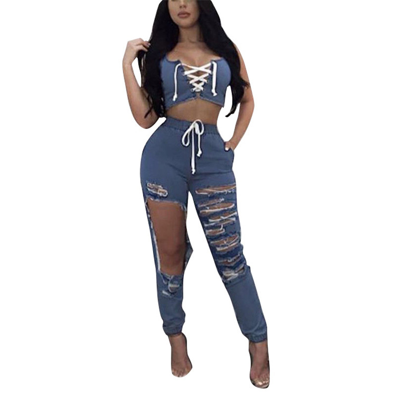 2019 New Two Piece Hollow out Denim Sets Women Sexy Sleeveless Crop Tank Top And Hole Jeans pants 2 Pcs Set women leisure suit