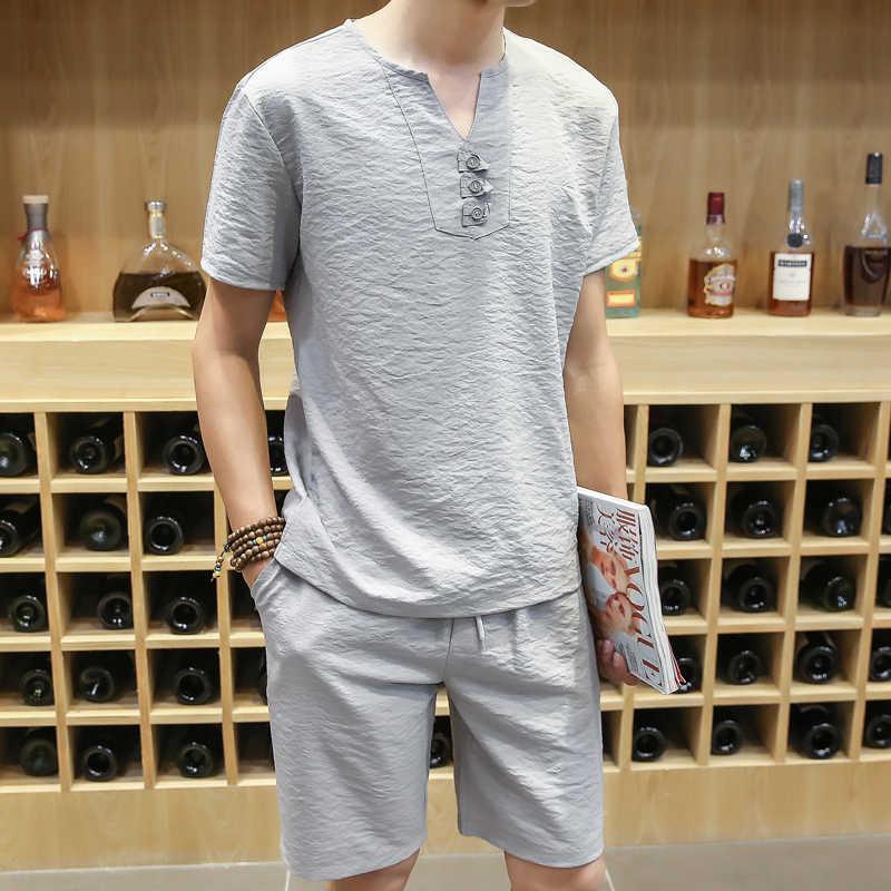 2 шт. Мужская футболка с v-образным вырезом 2018 летняя новая модная удобная мягкая дышащая короткая футболка мужские комплекты Спортивный костюм Мужская Легкая Одежда