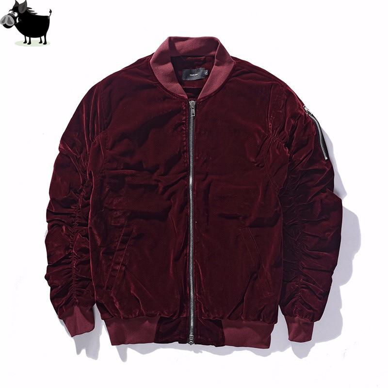 Man Si Tun 2017 Fashion Kanye West Oversized Jackets Vintage Wine Red Velvet Fabric Pleated Sleeve Designer Bomber Jacket Coats