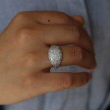 Najnowszy Mirco pave shiny cz betonowa szerokie obrączki z rodem plagted dla kobiet męskie obrączki ślubne biżuteria prezent