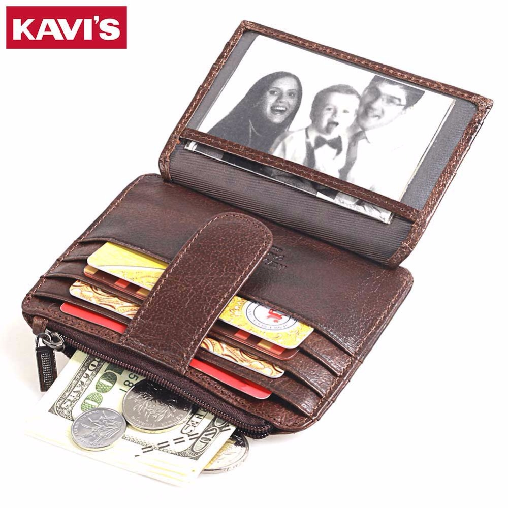 KAVIS Thin Wallet Zipper Hasp Brand Design Genuine Leather Card Holder with Coin Pocket Bifold Male
