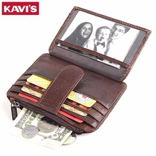 Кавис тонкий бумажник на молнии и HASP бренд Дизайн Пояса из натуральной кожи Визитница с Coin Pocket bifold мужской кошелек высокое качество карты сумка