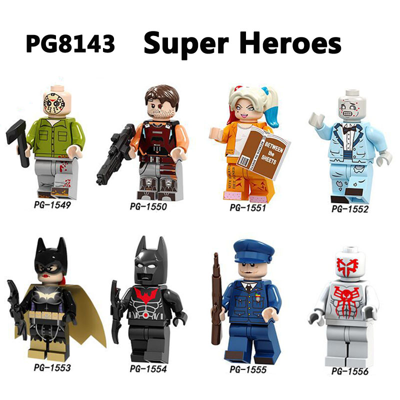 Building Blocks Super Heroes Batman Armor Joker Harley Quinn Jason Voorhees Spiderman Zombie Headhunters Brick Gifts Toys PG8143 1pc super heroes catwoman robin joker batman movie figures poison harley quinn building blocks compatible with legoingly batman