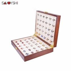 SAVOYSHI العلامة التجارية 300*240*68 مللي متر 30 أزواج قدرة الفاخرة أزرار أكمام مربع عالية الجودة رسمت خشبية مربع أصيلة صناديق هدايا لحمل المجوهرات