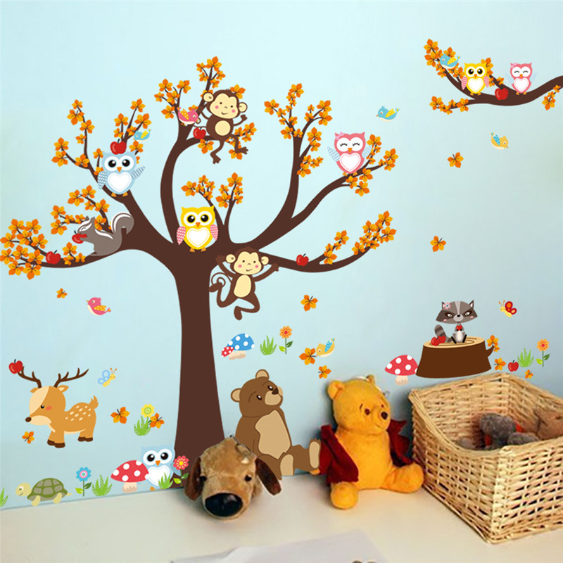% Cartoon Forest Tree Branch Animal Owl Monkey Bear Deer Wall Stickers For Kids Rooms Boys Girls Children Bedroom Home Decor