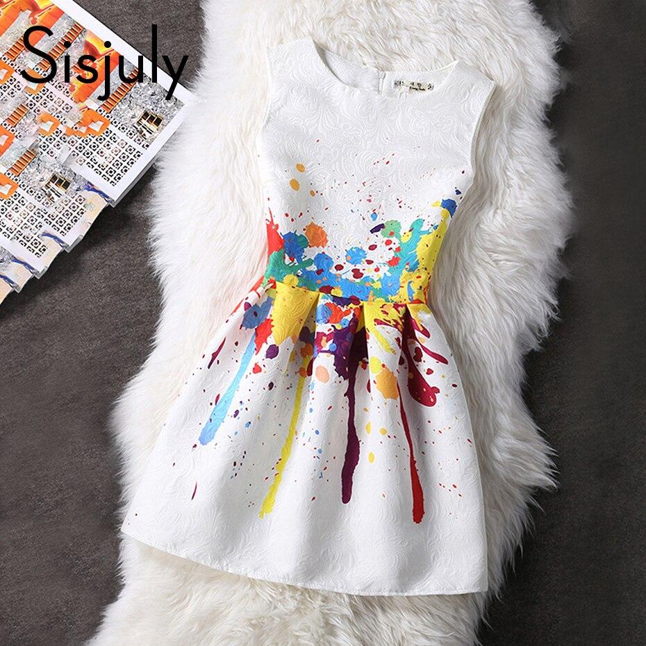 Sisjuly vintage dress 1950s women sleeveless floral print a line mini dress o neck retro female dresses spring party dress 2018