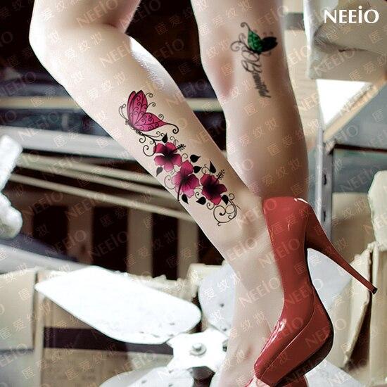 Grosse Temporare Tattoo Schmetterling Blume Sexy Frauen Tattoo
