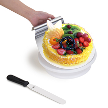 Custom 3 PCS Manual Turntable Cake Decorating Rotating Stand Baking Supplies Bundle Shovel Spatula Bakeware Making Tools