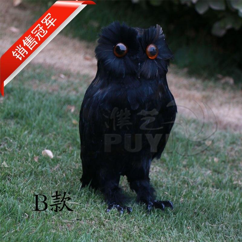 Simulation hibou jouet plumes noires nuit hibou oiseau grand 34 cm modèle dur décoration maison cadeau d'anniversaire h1150