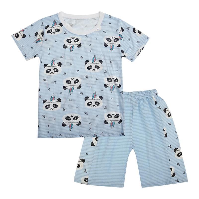 Cartoon Panda Infant Toddler Baby Kids Boys Top T shirt Pants 2PCS Short Sleeve Summer Outfits Clothes Set