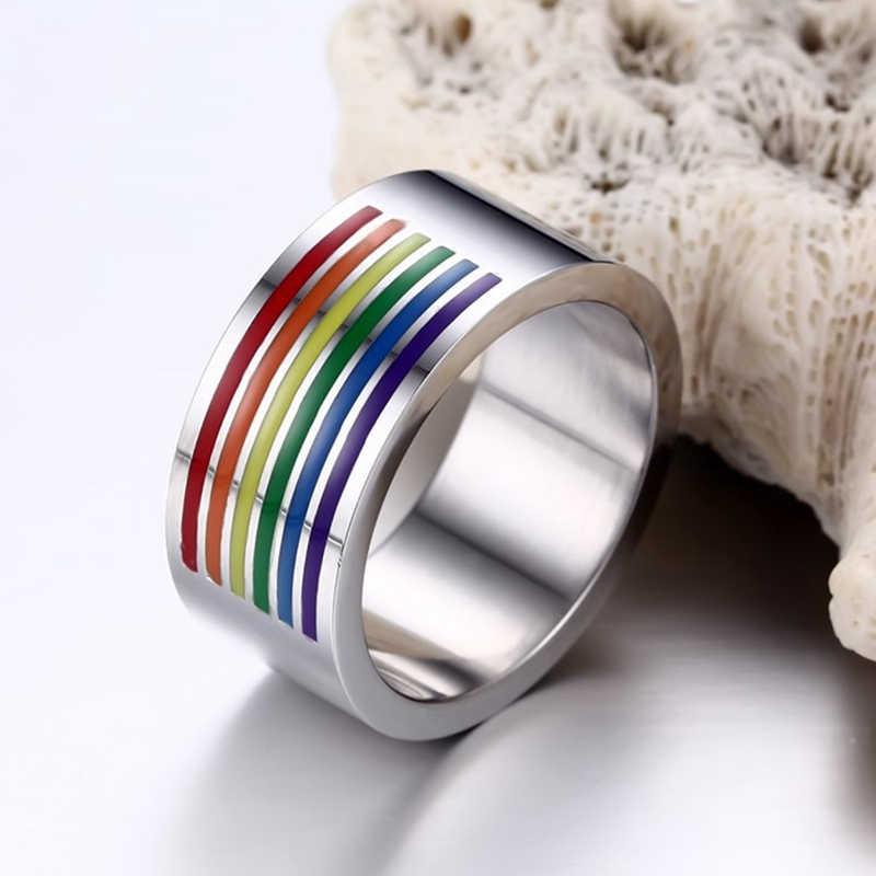 แหวนสายรุ้งเกย์ Pride เครื่องประดับที่มีสีสันผู้ชายผู้หญิงสแตนเลสสตีล LGBT กับคู่แหวนแฟชั่นเครื่องประดับงานแต่งงานของขวัญ
