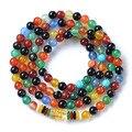 Nova moda 6 mm colorido ágata tibetano budista 108 Prayer Beads colar cabaça de oração mala pulseira para meditação
