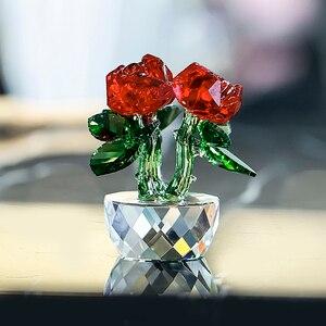 Image 2 - H & D אדום קריסטל רוז האהבה מתנות זר פרחים צלמיות חלומות קישוט עם אריזת מתנה בית חתונת דקור