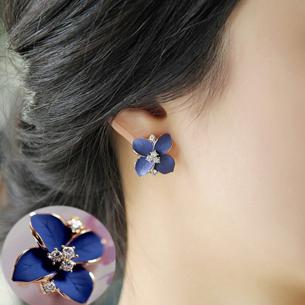 Kisswife 2018 nova elegante nobre flor azul senhoras brincos de strass de ouro piercing brinco mulher uma venda direta e005