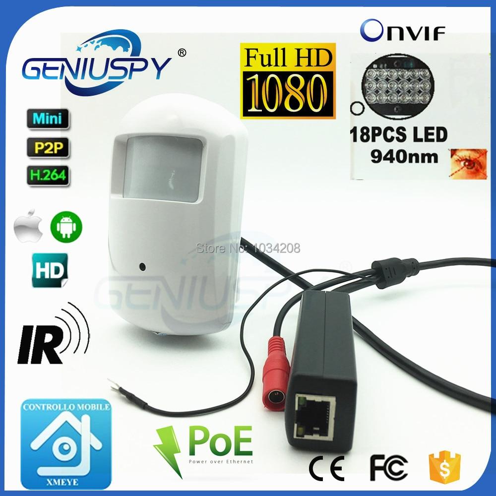1080P PoE PIR IR IP Camera With PoE Cable IEE802.3af PoE Came IP ONVIF 18pcs 940nm IR LED Indoor Mini Camera CCTV Audio