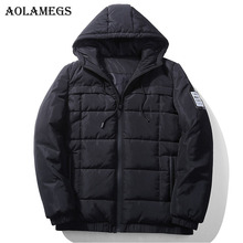 Aolamegs Down Jacket Men Solid Badges Thick Winter Jacket Men Plus Size Stand Collar Parkas Casual Windproof Coat Mens Brand