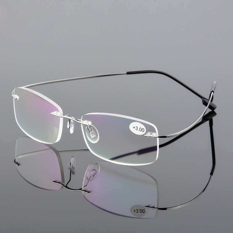 AORON Men Ultra Light Flexible Memory Titanium Frameless Women Brand Rimless Reading Glasses Diopter +1.00,+1.50,+2.00,+2.50,+3