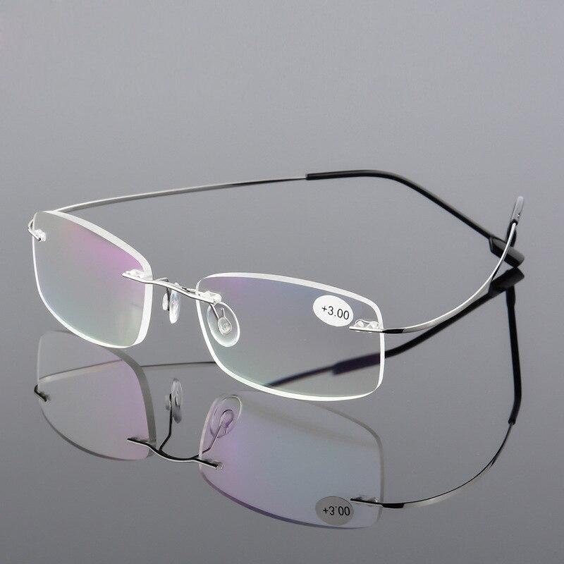 AORON Men Ultra Light Flexible Memory Titanium Frameless Women Brand Rimless Reading Glasses Diopter +1.00,+1.50,+2.00,+2.50,+3