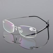 ea0b82d599 AORON Men Ultra light Flexible Memory Titanium Frameless Women Brand Rimless  Reading Glasses Diopter +1.00