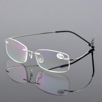 4c203d75ee AORON hombres Ultra ligero memoria Flexible titanio sin marco mujeres marca  montura gafas de lectura Diopter + 1,00, + 1,50, + 2,00 + 2,50 + 3