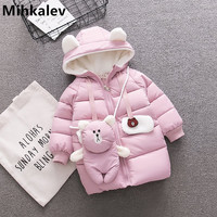 Mihkalev 2018 fashion kids winter jackets for girls down coats toddler baby girl hooded snow coat children hoodies Windbreaker