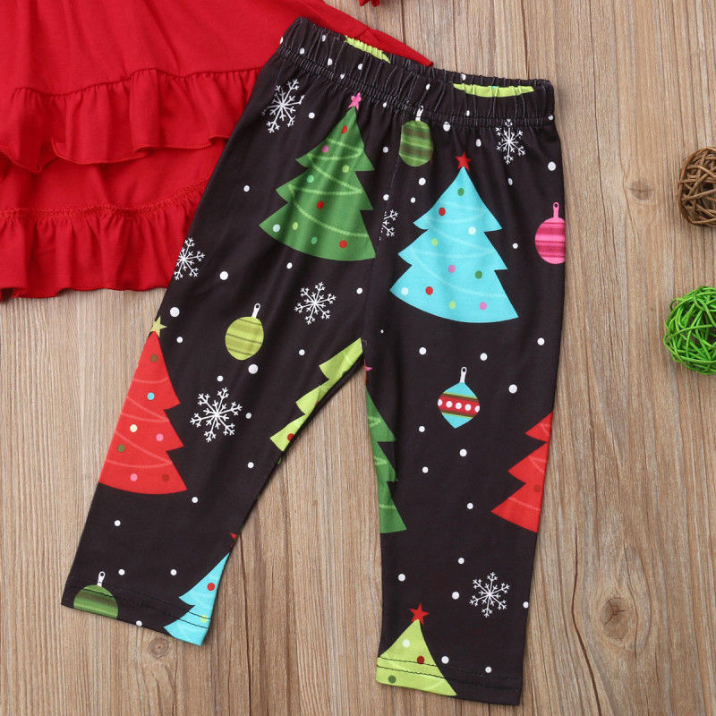 3Pcs Newborn Toddler Kids Baby Girl Christmas Tree Tops Long Sleeve High Waist Dress Tree Pants Outfits Clothes Set 2019 in Clothing Sets from Mother Kids