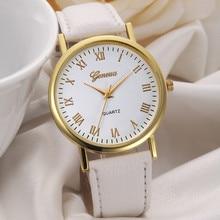 Лидер продаж ЖЕНЕВА часы Для женщин модные унисекс для отдыха набора Кожаный ремешок аналоговые кварцевые наручные часы Высокое качество Reloj Mujer # N