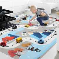 130*100cm Blue white style Children Traffic signs Parking Lot Map Game Pad Play Mat Car Carpet with Road