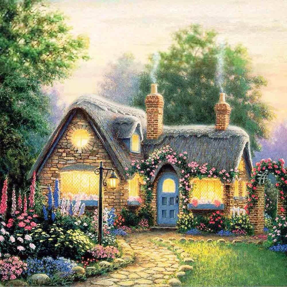 Diy Pintura Diamante Casa De Campo Por N Meros Pintados M O  -> Tapete De Sala Pintado A Mao
