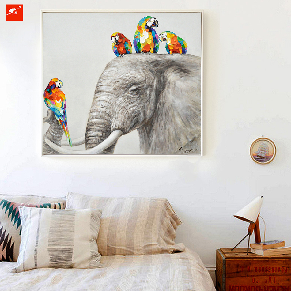 Animal Wall Art Elephant Zebra Abstract Parrot Hand Painted Oil Painting On  Canvas Printing Home Decor Picture For Living Room In Painting U0026  Calligraphy ...
