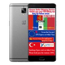 Оригинал Oneplus 3 три Qualcomm Snapdragon 820 6 ГБ RAM 64 ГБ ROM мобильный сотовый телефон 5.5 «4 Г LTE FDD ОТА Глобальной ROM Смартфон