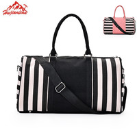 Black/Pink Stripe sports bag for Women Fitness Yoga Crossbody Tote Travel Luggage Bags Gym Shoulder Handbag