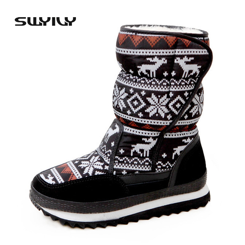 Christmas Fur Warm Snow Boots For Woman 2017 Thick Bottom Flat Female Warm Winter Shoes Hook Loop Easy Wear Lady Snowboots 34-41