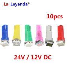 LaLeyenda-10 Uds. De bombillas led para salpicadero de coche, 24V, 12V, T5, 17 37 73 74 SMD 5050 lámpara LED de coche, 12V, blanco, azul, rojo, amarillo