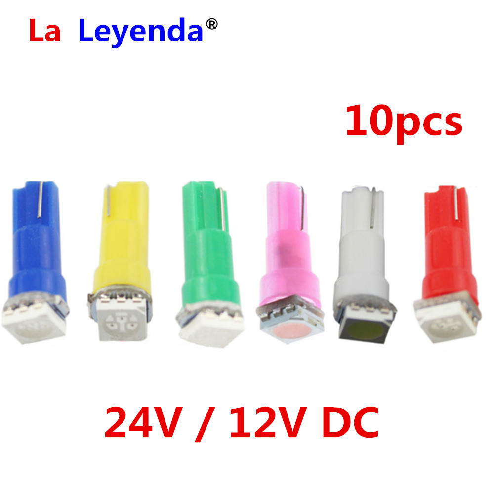 LaLeyenda 10PCS <font><b>24V</b></font> 12V <font><b>T5</b></font> <font><b>led</b></font> 17 37 73 74 SMD 5050 Auto <font><b>LED</b></font> Lamp Car Dashboard Instrument Light Bulbs 12V white blue red yellow image