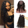 360 Lace Frontal Cap With 3 Bundles Natural Hairline Brazilian Deep Wave 360 Lace Frontal Closure With Bundles Lace Virgin Hair