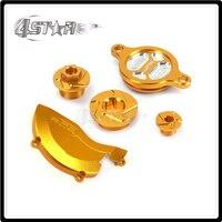 Motorcycle Gold CNC Aluminum Screw Timing Engine Cover Oil Filter Cap For SUZUKI RMZ450 RMZ 450 08 09 10 11 12 13 14 15 16