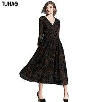 TUHAO herfst winter vrouwelijke kleding Vintage 2017 Sexy V-hals jurken elegante Kant Luipaard Baljurk lange maxi vrouw jurk QH08