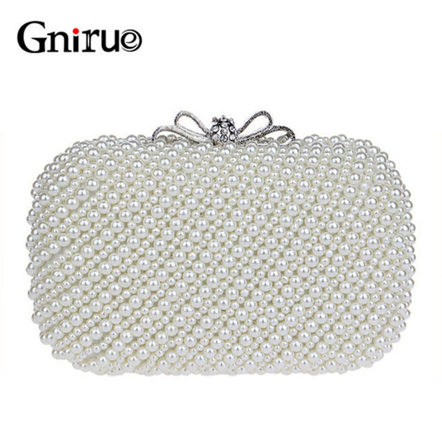 Vintage Beaded Diamond Evening Bags Small Pearl Shell Women Messenger Day  Clutch Bag Wedding Party Handbags