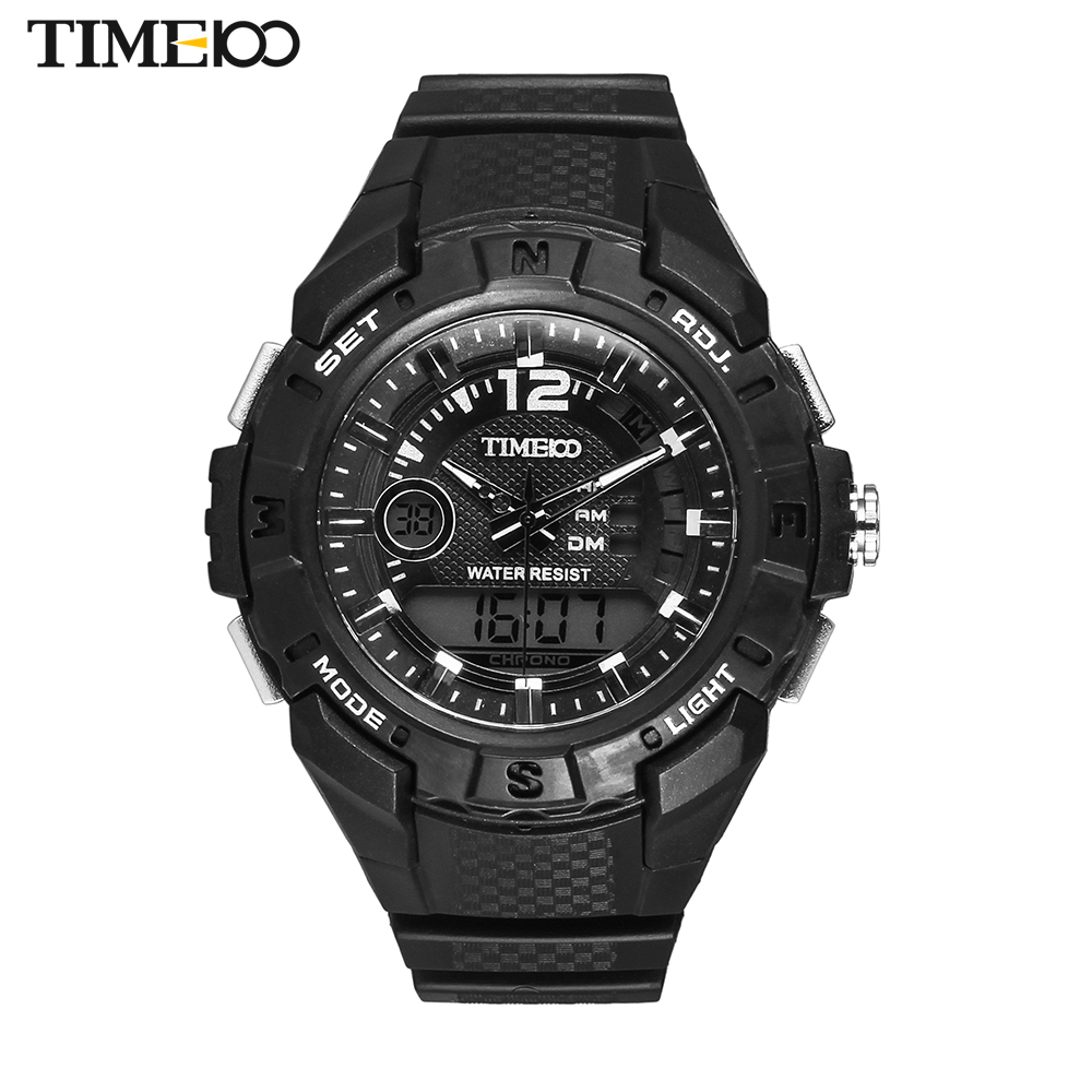 TIME100 Men Dual-Time Bid Dial Outdoor Sport Military Watch Rubber Strap Quartz Digital Electronic Casual Wrist Watches For MenTIME100 Men Dual-Time Bid Dial Outdoor Sport Military Watch Rubber Strap Quartz Digital Electronic Casual Wrist Watches For Men