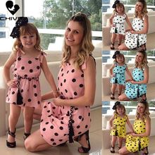 Chivry 2019 New Mother & Kids Dress Fashion Polka Dot Print Sleeveless Cami Dresses Mom and Daughter Matching Family Dress