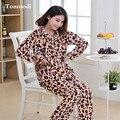 Mulheres pijamas de inverno Flanela sono Leopardo quente cabelo nightclothes pullover Pijama Conjunto de manga Longa sleepwear