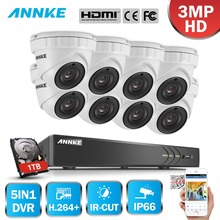 ANNKE 8CH 3MP CCTV System FHD TVI DVR 8PCS 2048*1536 TVI Security Dome Camera Outdoor CCTV Camera Home Video Surveillance Kit