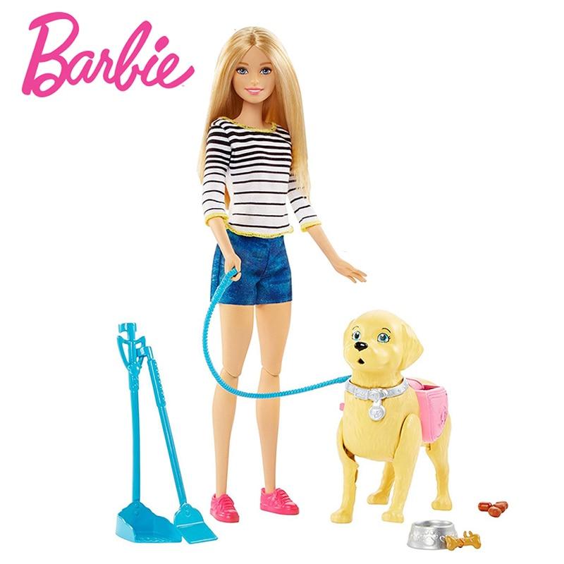 Original Barbie Doll Princess Dress Model Dog Walk Dog Girl Fashion Barbie Girl Toy Accessories Birthday New Year Gift DWJ68
