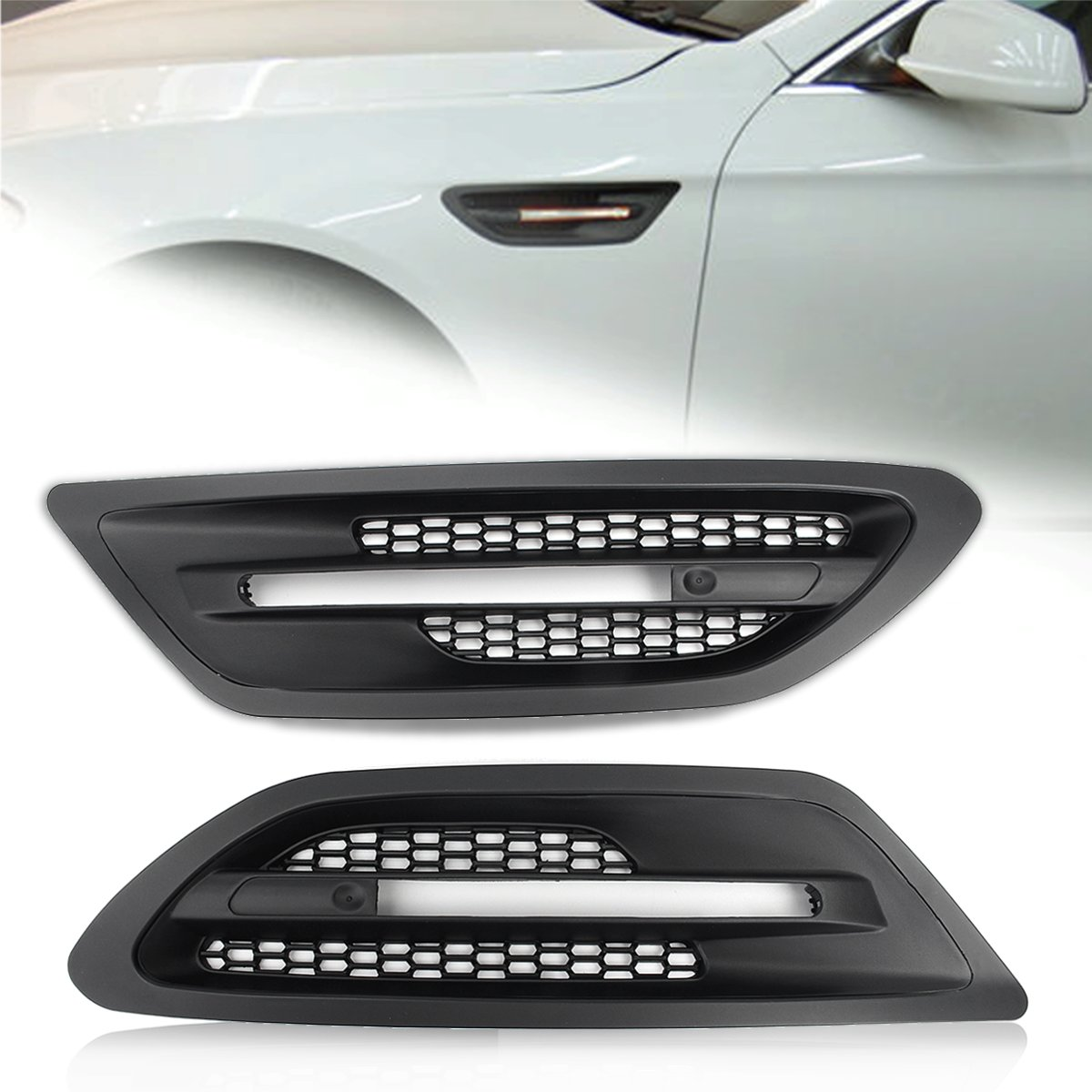 Pair ABS Side Vents -Fender Grilles Air Flow Cover For BMW 5 Series F10/F11 M5 auto side air vent fender decoration sticker cover hole intake grille duct flow