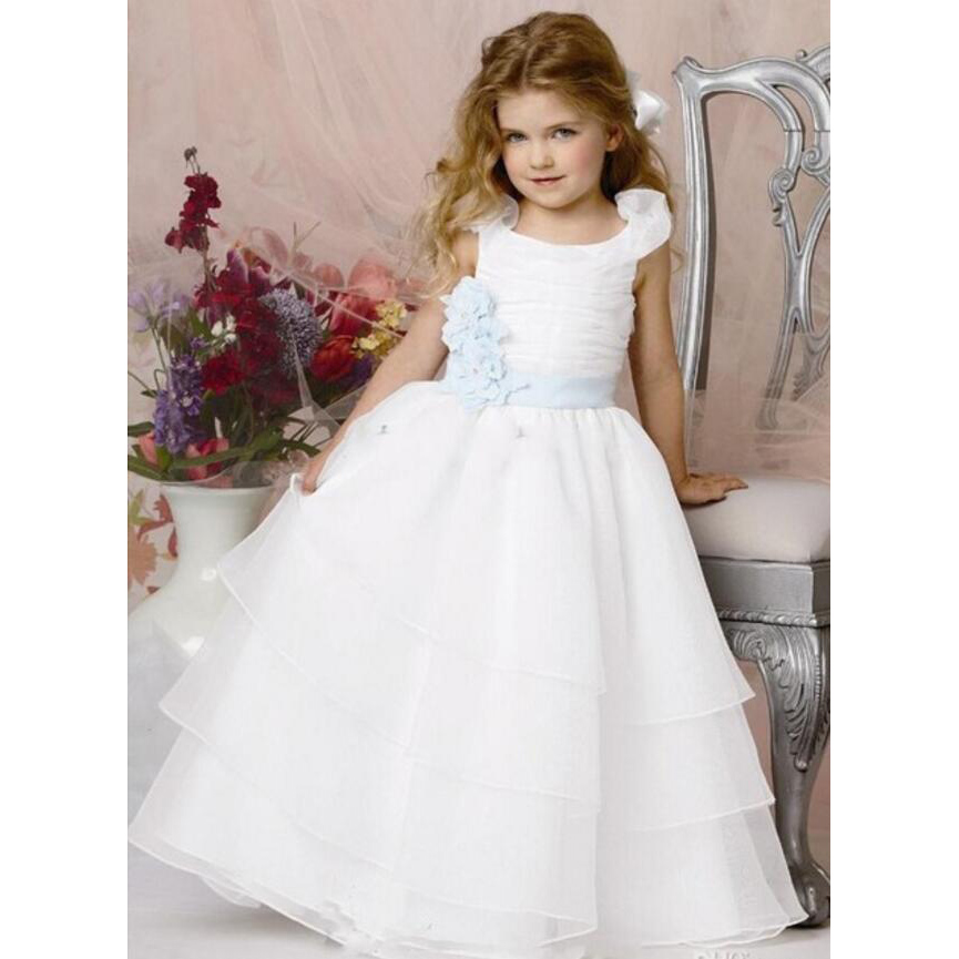2017 White   Flower     Girls     Dresses   Ball Gown Organza Tiered blue Ruffles Sashes Cheap China First Communion   Dress   For   Girls
