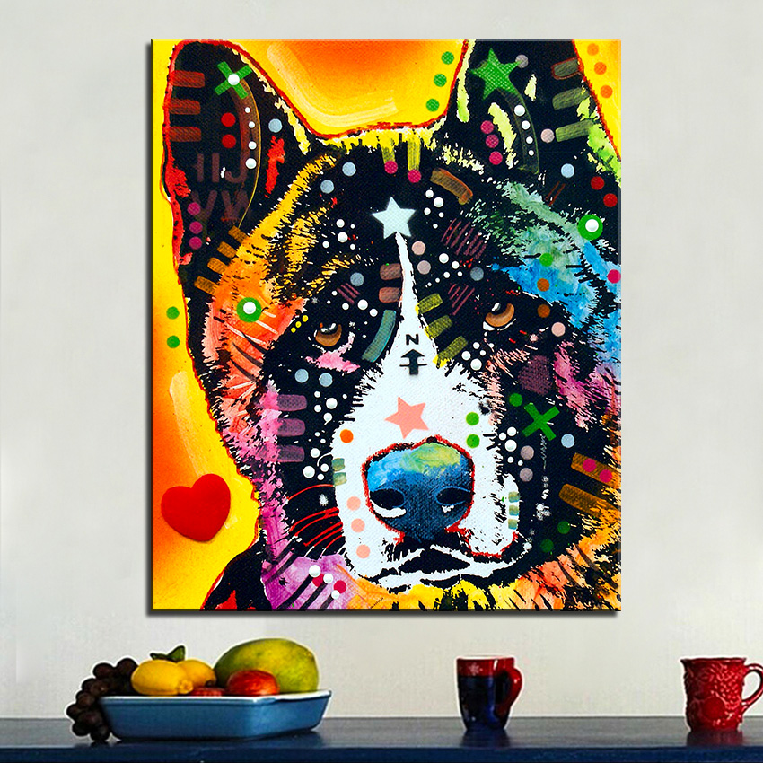 Large size print oil painting wall painting akita dogs pop for Pop wall art