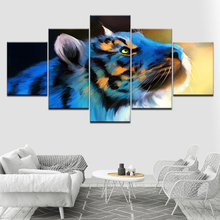 The blue tiger animal 5 Piece HD Wallpapers Art Canvas Print modern Poster Modular art painting for living room Home Decor цены