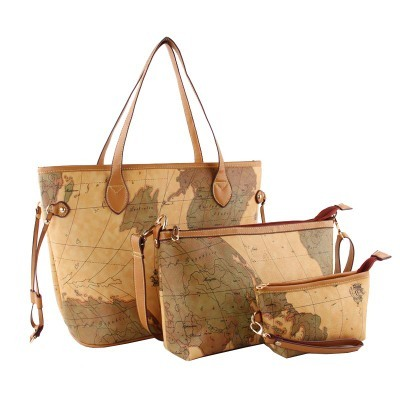 2aee9800fb99 3pcs Fake Designer Bag Neverfull Map Printing Large Tote Sac Vintage Bolsas  Retro Luxury Handbags Women Bags Designer HDG211-3