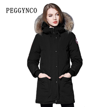 Women Polyester Parkas Padding Wide Waisted Wool Real Raccoon Fur Black Peacoat with Woven Patch Cotton Coat Walking Coat Parka(China)